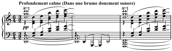 Debussy's opening to 'The Sunken Cathedral' (La Cathedral Engloutie) employing the use of parallel fourths, also known as 'planing'.